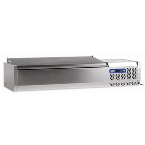 Diamond Refrigerated display case design - 5x 1/4 GN - SS Cover - 120x34xh26 / 58 cm