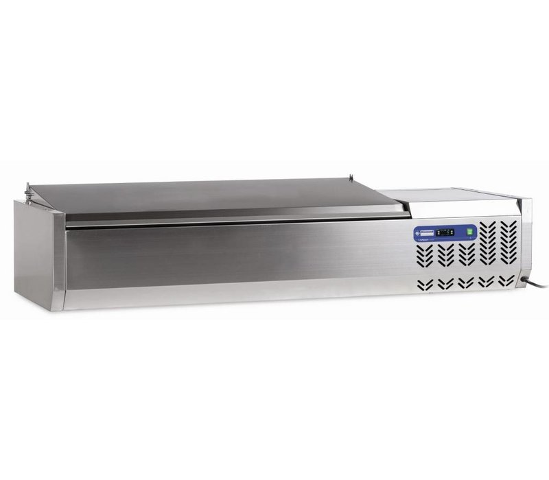 Diamond Design-Vitrine Kühlfläche aus Edelstahl - 5x oder 10x 1/2 GN 1/4 GN - Deckel aus Edelstahl - (BxTxH): 200x34xh26 / 58 cm