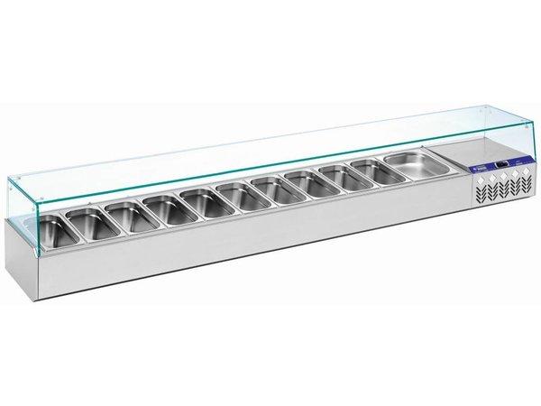 Diamond Showcase Design Gekühlte mit Glas Top- 7x oder 14x 1/3 GN 1/6 GN - 160x39,5x (H) 22,5 cm