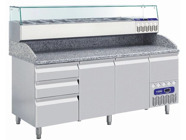 Diamond Showcase design Chilled with Glass Top- 7x or 14x 1/3 GN 1/6 GN - 160x39,5x (H) 22.5 cm