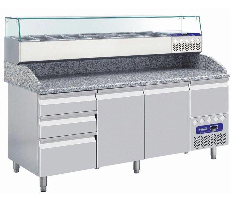 Diamond Showcase Design Gekühlte mit Glasplatte - 9x oder 18x 1/3 GN 1/6 GN - 200x39,5x (H) 22,5 cm