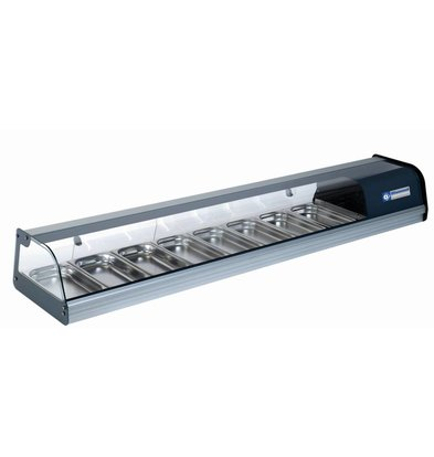 Diamond Sushi / Tapas Vitrine   Manufactured in stainless steel   Curved Square in Tempered Glass   8x 1/3 GN   1850x400x (H) 260mm