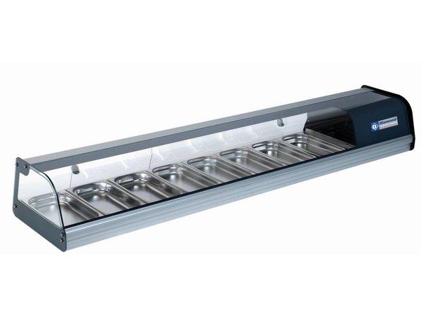 Diamond Sushi / Tapas Vitrine | Hergestellt aus Edelstahl | Curved-Platz in ausgeglichenes Glas | 8x GN 1/3 | 1850x400x (H) 260mm