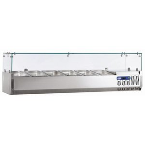 Diamond Design Showcase Refrigeration with Glass Top - 3x1 / 3 + 1x1 / 2 GN or 6x1 / 6 + 2 x 1/4 GN 120x39,5x (H) 22.5 cm