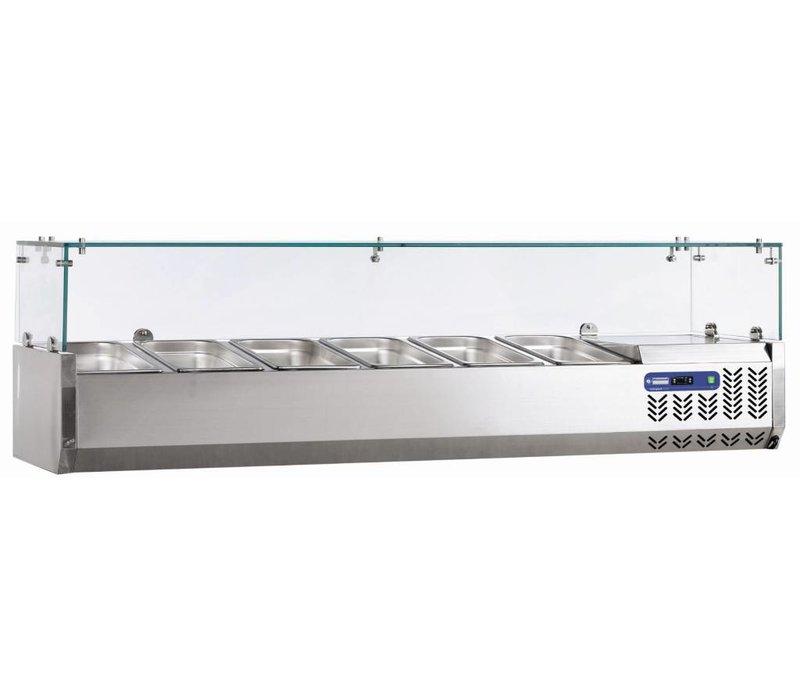 Diamond Design-Vitrine Kühlung mit Glasplatte - 3x1 / 3 + 1x1 / 2 GN oder 6x1 / 6 + 2 x 1/4 GN 120x39,5x (H) 22,5 cm