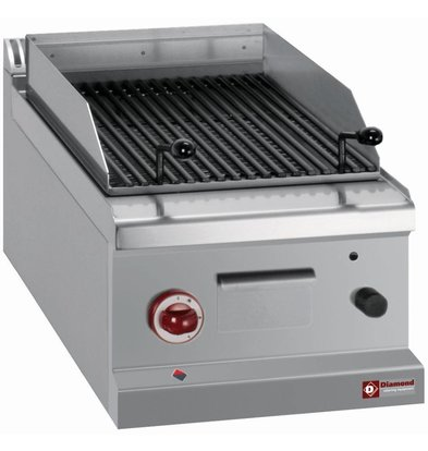 Diamond Lava Rock Grill Gas RVS - Tabletop - with Cooking grid - 40x70x (h) 25 / 32cm - 6.3KW