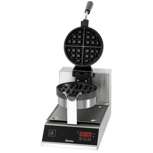Bartscher Deluxe waffle iron - Round Model and swivel - with Cast Iron Griddle - 250x495x (h) 385mm - 1KW
