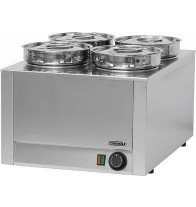 Casselin Hotpot | Bain-Marie | Edelstahl | 4x4,5 Liter | 800W | 450x600x (H) 350mm