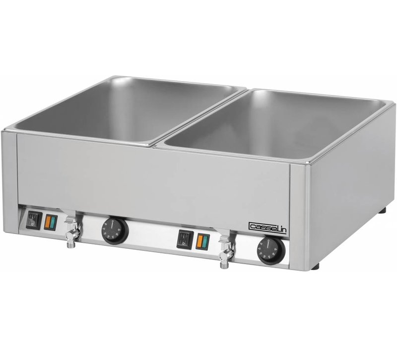 Casselin Double Bain Marie | 2x1 / 1 GN | 150mm | 2 Bleed taps | 660x540x (H) 220mm