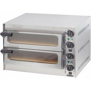 Casselin Pizza-Ofen SS | Innerhalb von 2 Zimmer 410x370x90mm | 2700W | 550x430x (H) 245mm