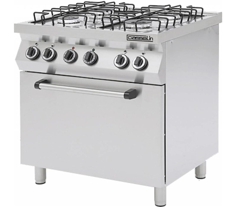 Casselin Gasfornuis 4 Pits + Gas Oven 1/1GN | 800x700x(H)850/900mm