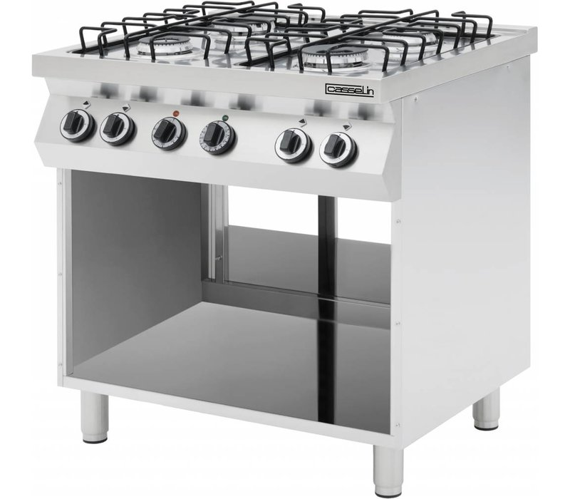 Casselin 4 burner gas stove | with open chassis | Manual ignition | Natural gas H | 900x600x (H) 850/900 mm