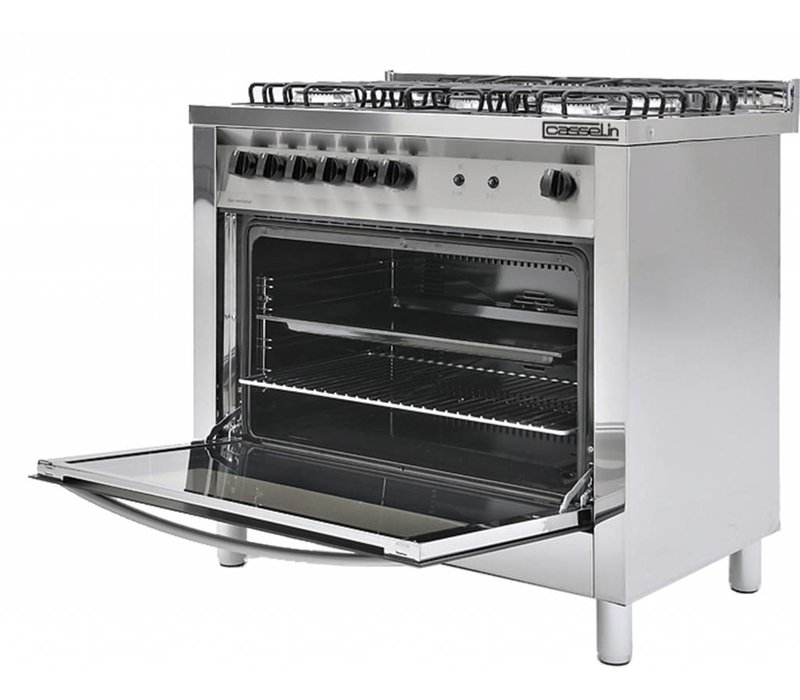 Casselin 5 Flammen Gas-Herd + Backofen 117 Liter | 900x600x (H) 850 / 900mm