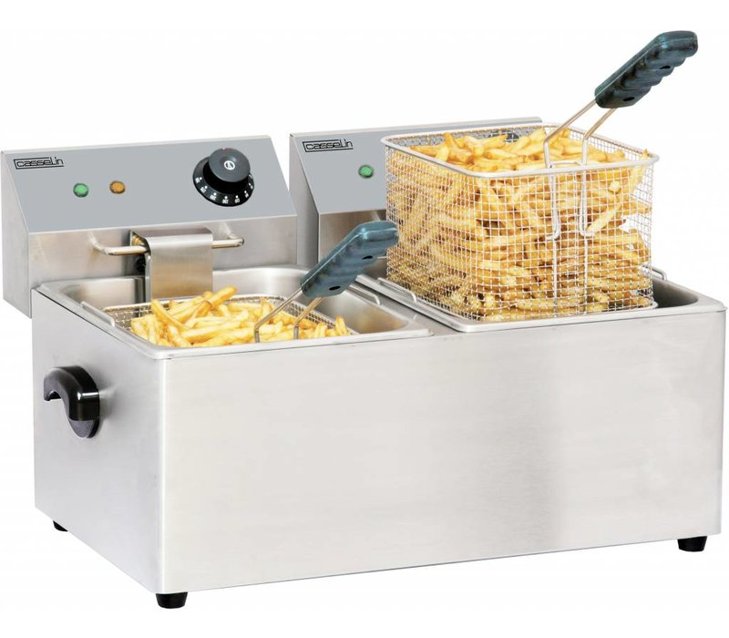 Casselin Stainless Steel Fryer | 2x4 Liter | 2x2kW | 435x400x (H) 315mm