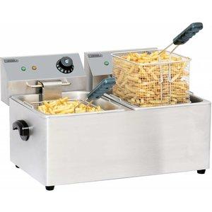 Casselin Stainless Steel Fryer | 2x8 Liter | 2x3,25kW | 550x430x (H) 340mm