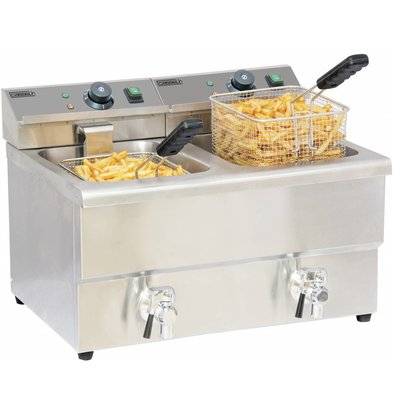 Casselin Electric Fryer | 2x8 Liter | Stainless steel | With drain valve | 2x3,25kW | 580x550x (H) 410mm
