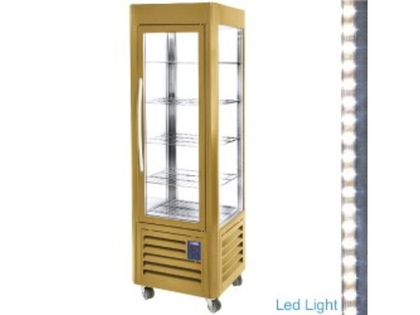 Diamond Refrigerated display - Gold - 360 liters - 5 Schedules and Wheels - 60x63x (h) 185cm