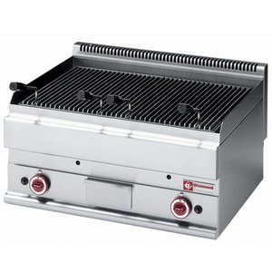 Diamond Lava Rock Grill Gas Stainless -Tafelmodel - with Cooking grid - 70x65x (h) 28 / 38cm - 9.5KW