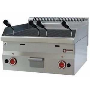 Diamond Lavasteingrill Gas RVS - Tabletop - mit Gusseisen Grillrost - 60x60x (h) 28 / 40cm - 7.7KW