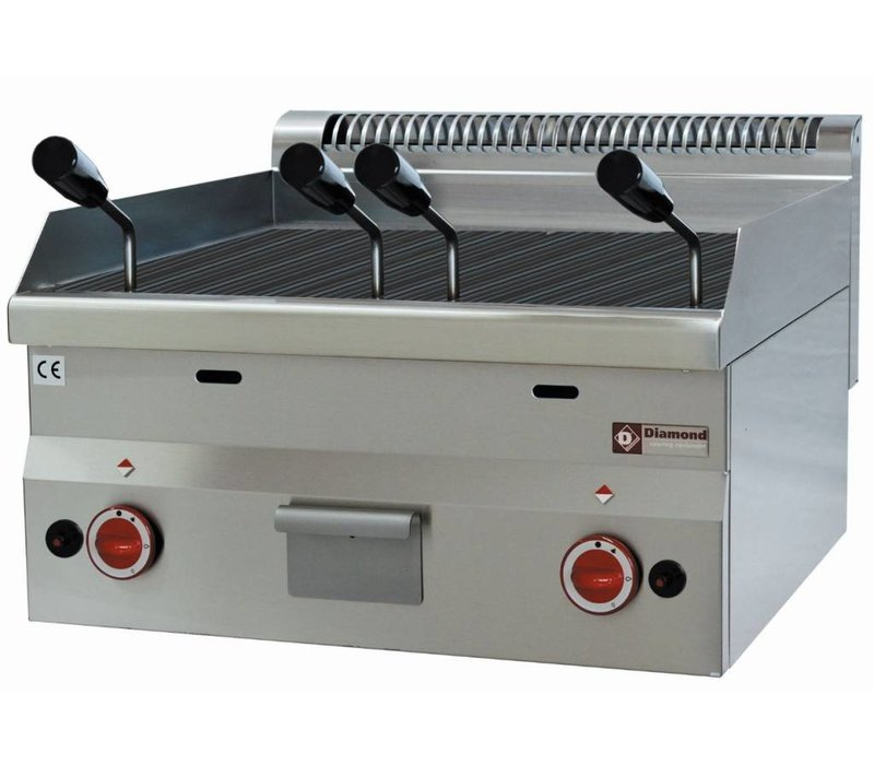 Diamond Lava Rock Grill Gas RVS - Tabletop - with Cast Iron Cooking grid - 60x60x (h) 28 / 40cm - 7.7KW