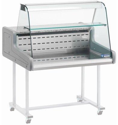 Diamond Koeltoonvitrine XL van RVS + Verlichting - met Schuifdeuren - Onderstel Los Te Verkrijgen - 150x93x(h)66 cm