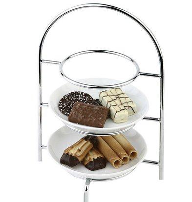 Hendi Serve Stand for 3 Plates | Chrome | Ø170mm | 185x120x (H) 260mm