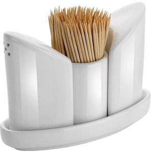 Hendi Menage White Porcelain | Salt / Pepper / Toothpick | 125x54x (H) 90mm