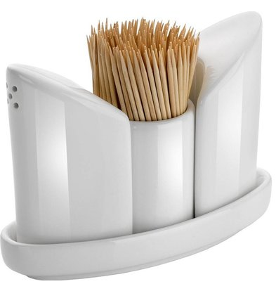 Hendi Menage White Porcelain | Salt / Pepper / Toothpick | 125x54x (H) 90mm