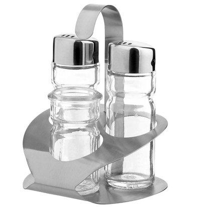 Hendi Menage 3-teilig   Luxus   Salz / Pfeffer / Zahnstocher   90x90x (H) 115mm