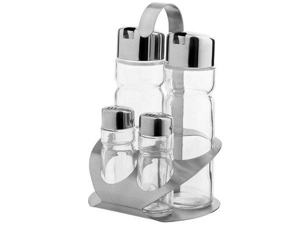Hendi Menage 4 Stück | Luxus | Öl, Essig, Salz, Salz | 130x110x (H) 185mm