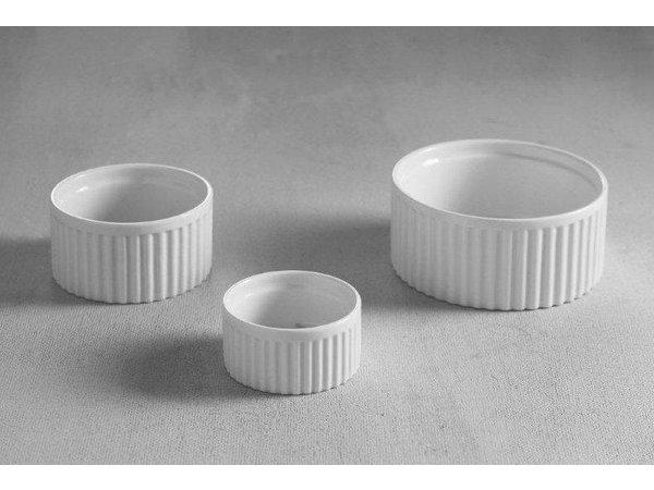 Hendi Auflaufförmchen Ribbed - 120x120x55 mm - Weiß - Porzellan