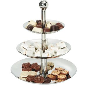 Hendi Cake Stand with 3 Shelves | Stainless steel | Ø268-220-166x (H) 320mm