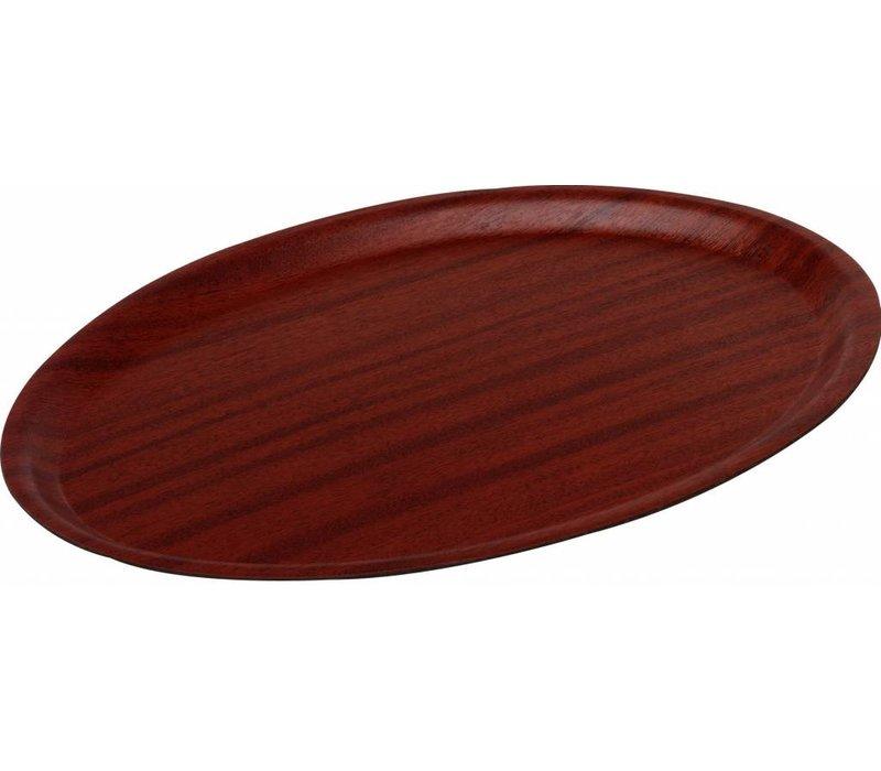 Hendi Tray Mahogany Oval | Nonslip | Wood Form | Shock / Break-resistant | 200x265mm