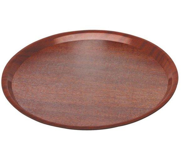 Hendi Tray Mahogany Round | Nonslip | Shock / Break-resistant | Wood Form | Ø380mm