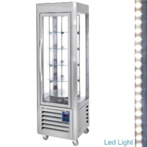 Diamond Koelvitrine 360 Liter - RVS - 60x63x(h)185cm - 5 Levels Draaiend