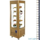 Diamond Refrigerated display case 360 ​​Liter - five levels running - Gold - 60x63x (h) 185cm