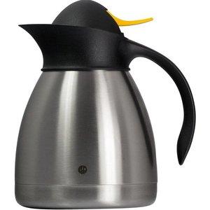 Hendi Thermoskan Dubbelwandig - RVS - 1 Liter - Gele Drukknop