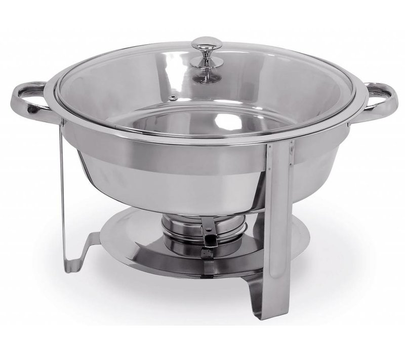 Hendi Ronde Chafing Dish | Met Glazen Deksel | 3,5 Liter | Ø390x(H)270mm