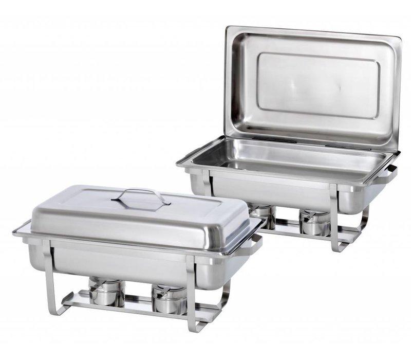 Hendi 2xChafing Dish 1/1 GN | Komplette Duopack | 9 Liter | 620x350x (H) 310 mm | XXL ANGEBOT!