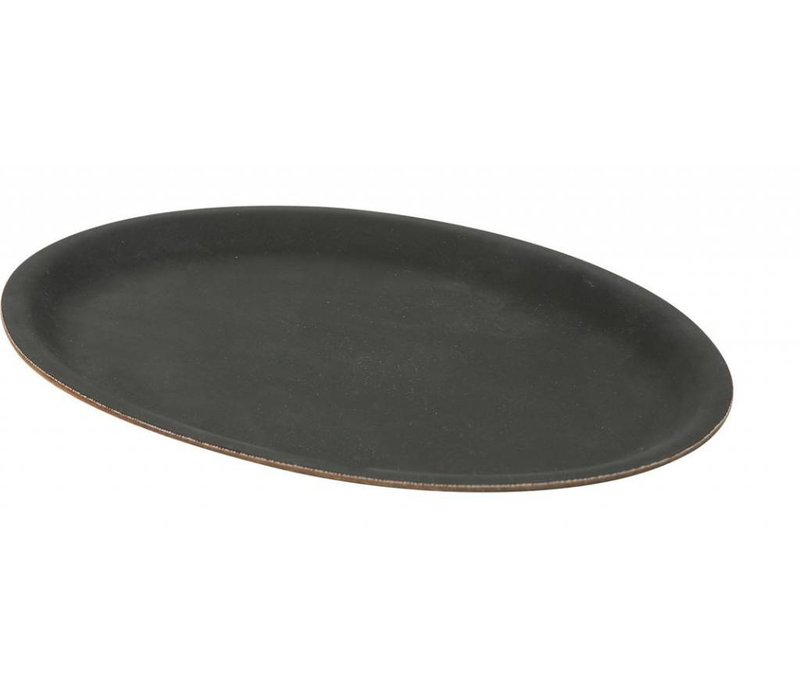 Hendi Black Oval Tray | Shock / Bruchsichere | Rutschfeste | Gummi-Formular | 200x265mm