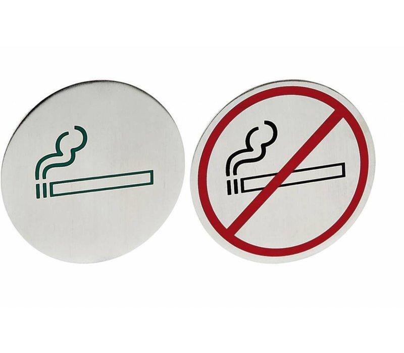 Hendi Deurschild rvs Niet Roken - zwart/rood groot 160 mm