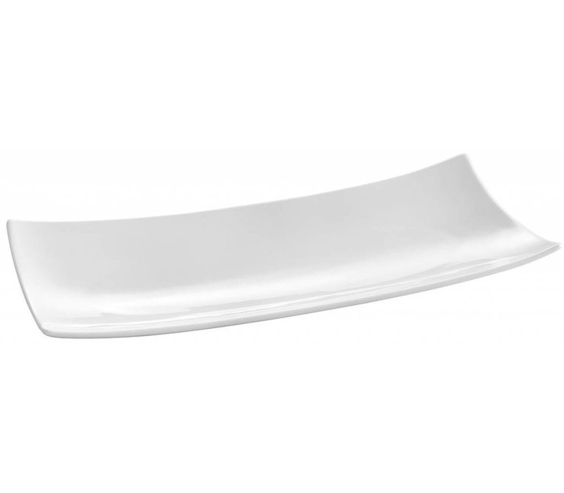 Hendi Rectangular plate Bark - 352x146x40 mm - White - Porcelain