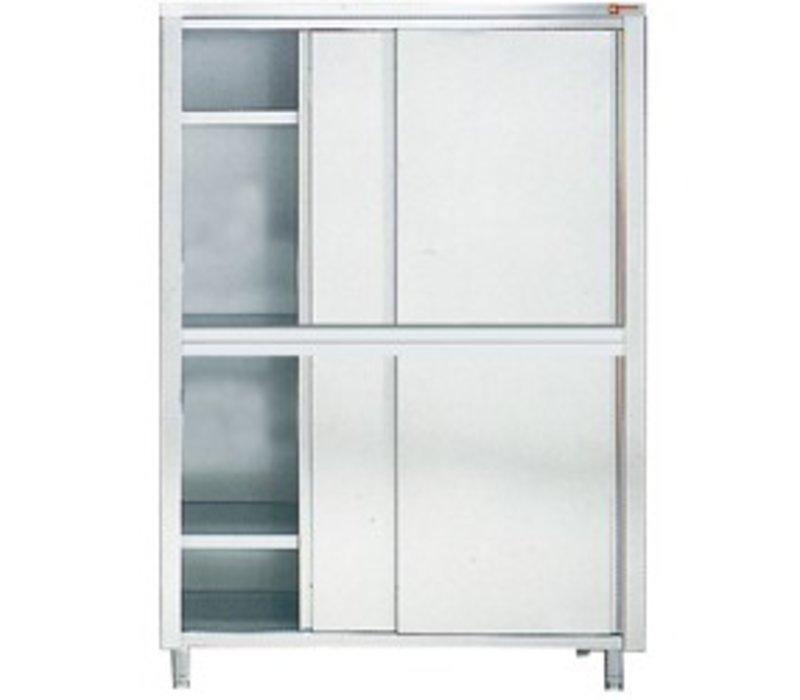 Diamond Kabinett / Porzellanschrank INOX - 4 Türen | 2000 (B) | 600 (D) | 2000 (H) mm