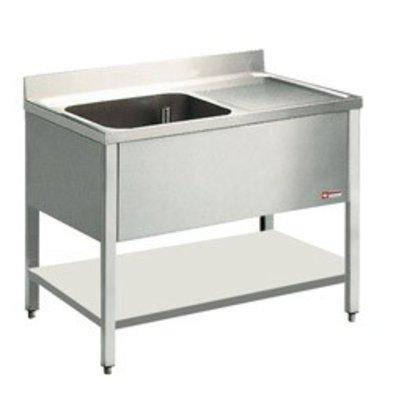 Diamond Sink INOX - 1 Behälter - 1400x700x900 (h) - Entleerung rechts