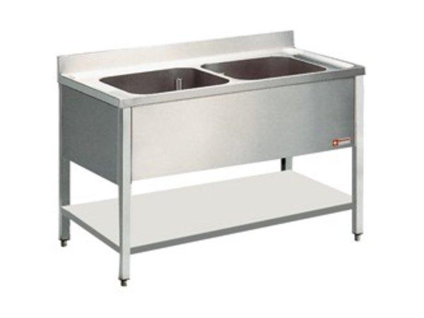 Diamond Sink Stainless Steel Water Edge - 2 Buckets 600x500x325 (h) mm - 1400x700x900 (h)
