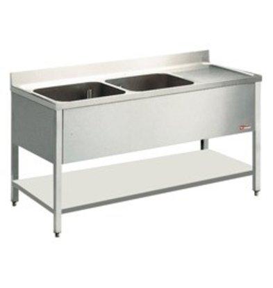 Diamond Sink - zwei Eimer 400x500x275 (H) mm - 1600x700x880-900 (h) - Ablassen Rechts