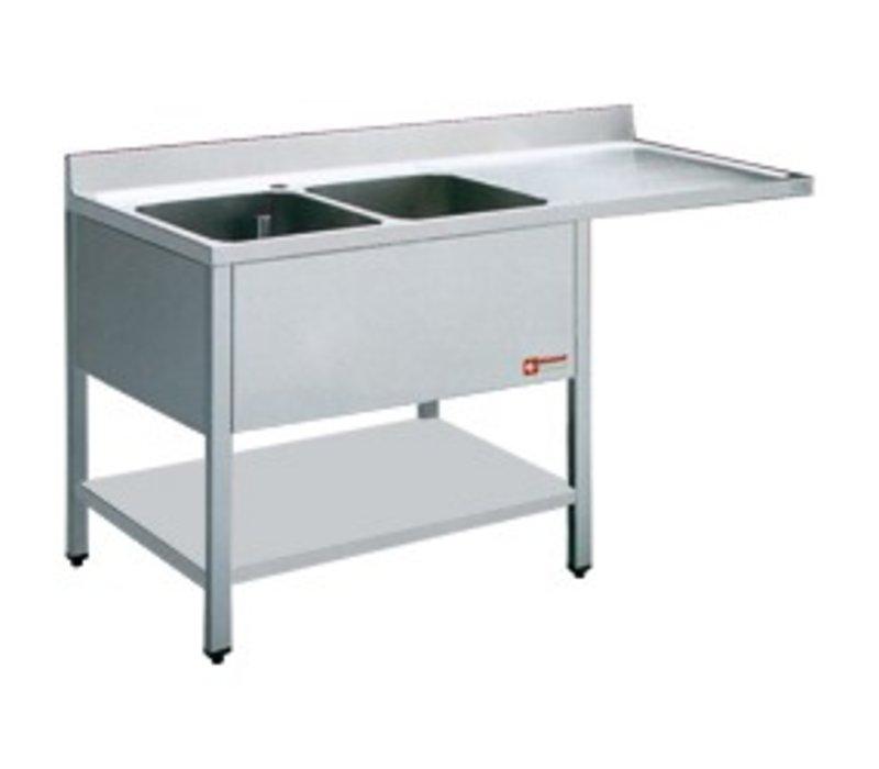 Diamond Sink - zwei Waschbecken - 1600x700x880-900 (h) - Abtropffläche rechts - Space