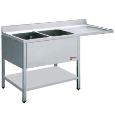 Diamond Sink - zwei Eimer 500x500x325 (H) mm - 1800x700x880-900 (h) - Ablassen Rechts