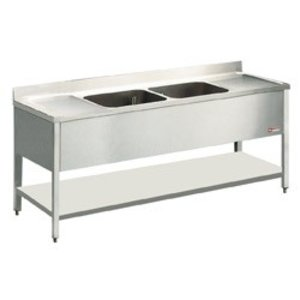 Diamond Sink Stainless Steel - 2 Buckets 500x500x325 (h) mm - 2000x700x880-900 (h) - draining Left / Right
