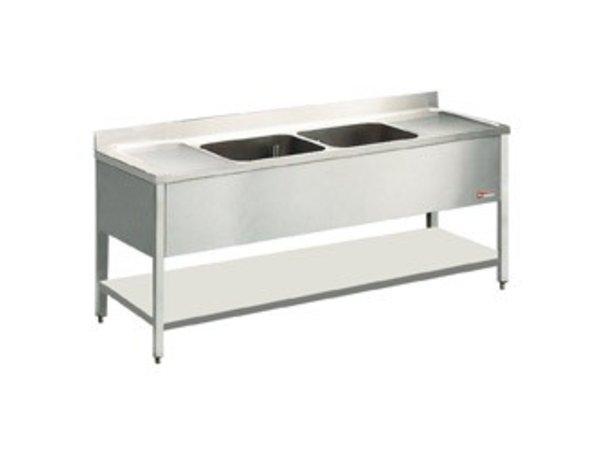 Diamond Sink Edelstahl - 2 Eimer 500x500x325 (H) mm - 2000x700x880-900 (h) - Entleerung links / rechts